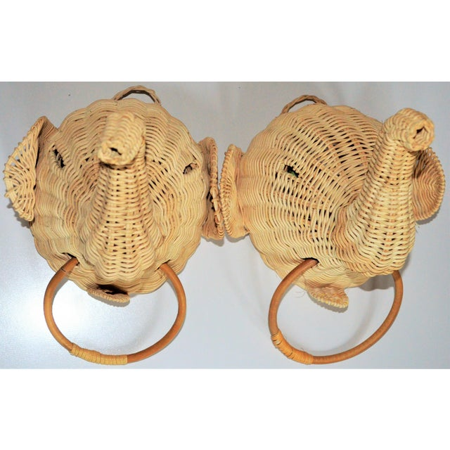 Tan Elephant Wall Mount Wicker Towel Rings - a Pair For Sale - Image 8 of 12