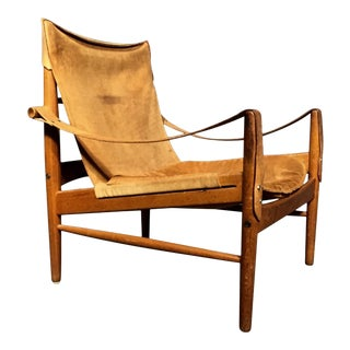 "1960s Scandinavian Modern Hans Olsen ""Antilop"" Suede and Oak Safari Chair For Sale"