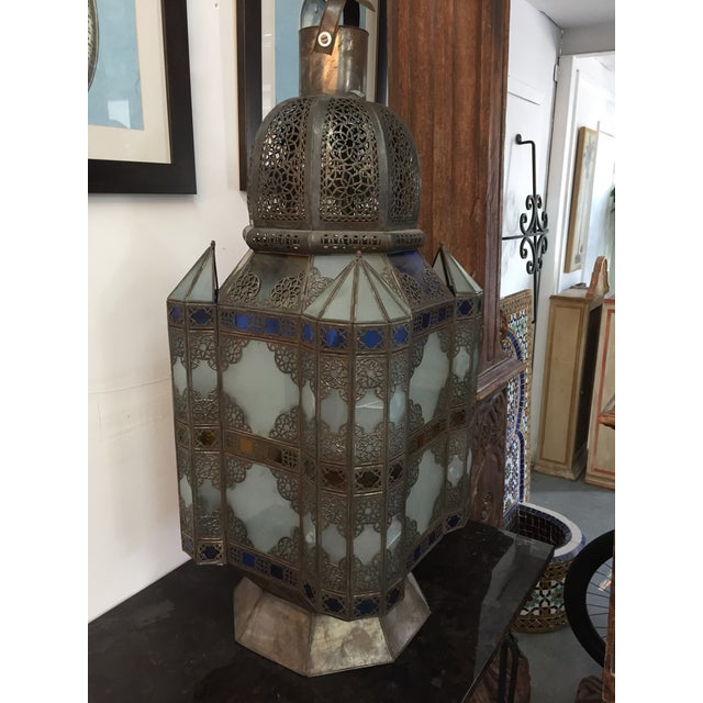 Moroccan Moroccan Color Glass Lantern For Sale - Image 3 of 3