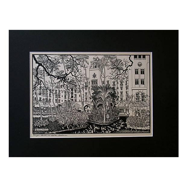 Royal Hawaiian Hotel Woodblock Print Trace Purcell For Sale