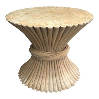 1970's Boho Chic Bamboo Wheat Sheaf Side Table For Sale