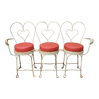 Vintage White Heart Wireframe Iron Bench For Sale