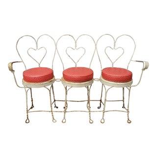 Vintage White Heart Wireframe Iron Bench