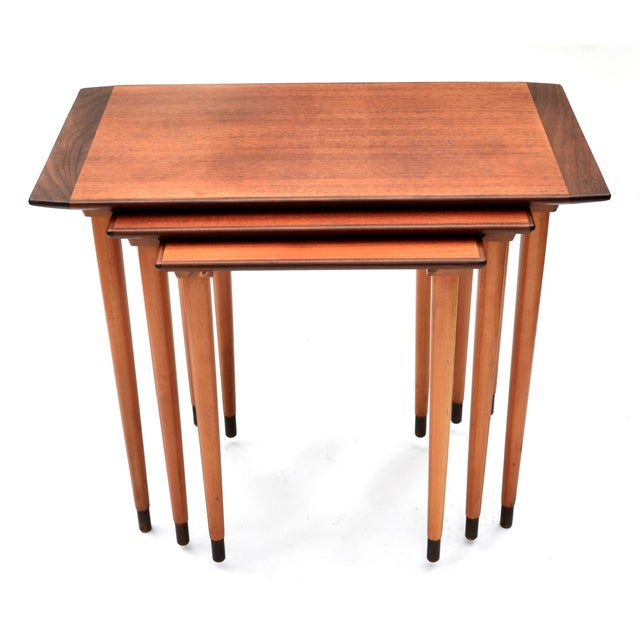 Mid-Century Modern Scandinavian Teak Walnut Nesting Tables, Set of Three 1960s For Sale - Image 3 of 10
