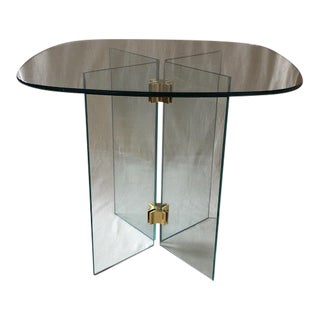 Modern Brass and Glass Pace Side Table For Sale