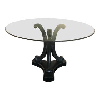1950s Regency Black Acanthus Leaf Dining Table With Glass Top For Sale