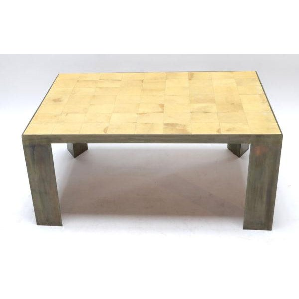 2010s Parchment and Metal Coffee Table For Sale - Image 5 of 6