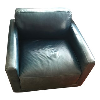 Room and Board Custom Navy Smith Leather Chair For Sale