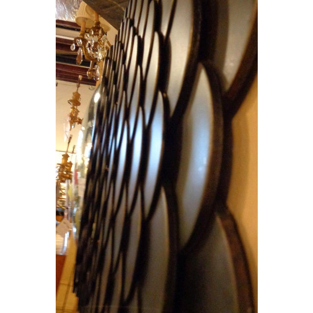 Palatial Modernist Steel Fish Scale Convex Wall or Console Mirror For Sale - Image 9 of 10