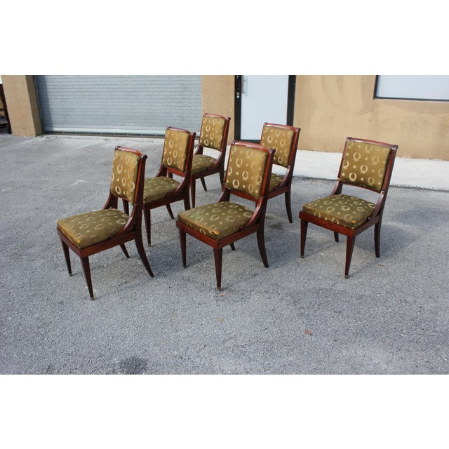 1910s Vintage French Empire Solid Mahogany Dining Chairs - Set of 6 For Sale - Image 4 of 13