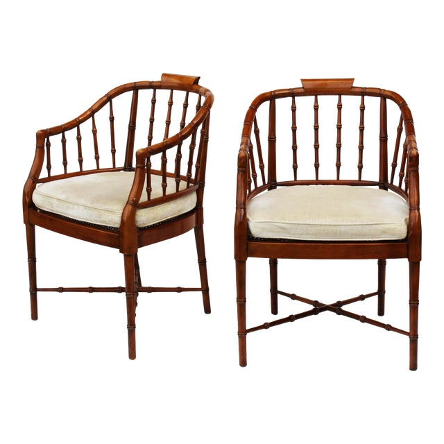 Hekman Faux Bamboo Chippendale Style Armchairs - a Pair - Image 1 of 10