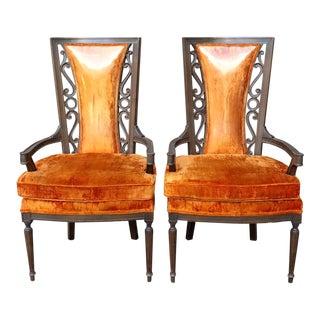 Hollywood Regency Velvet Ornate Wood Arm Chairs - a Pair