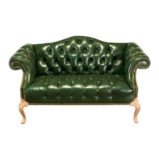 Tufted Leather Camelback Settee For Sale