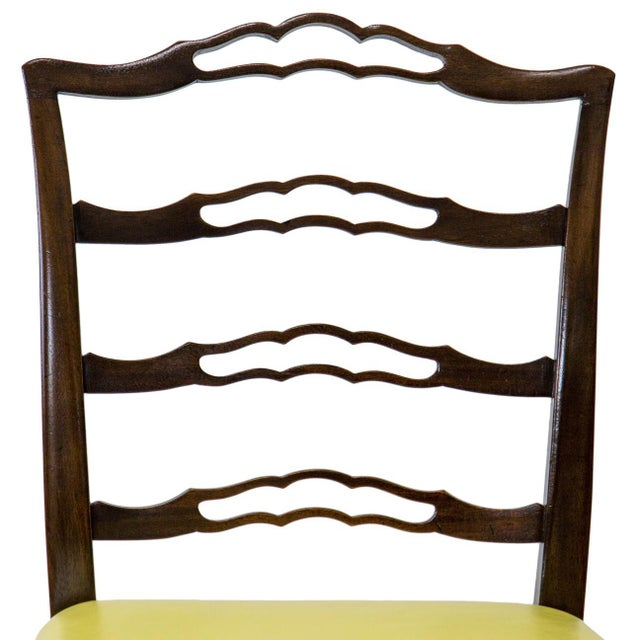 Mid 20th Century Mahogany Ladder Back Side Chairs, a Pair For Sale - Image 5 of 8