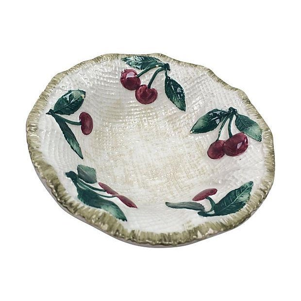 Cottage Italian Ceramic Cherries Dessert Bowls - Set of 4 For Sale - Image 3 of 4