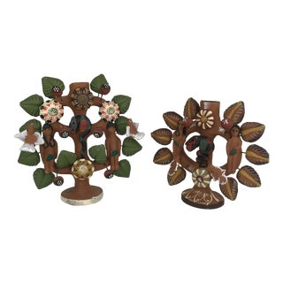 1970s Vintage Mexican Folk Art Tree of Life Candelabras - A Pair For Sale