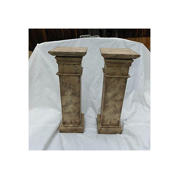 Architectural Decor Finish Wood Pedestals - A Pair - Image 2 of 7