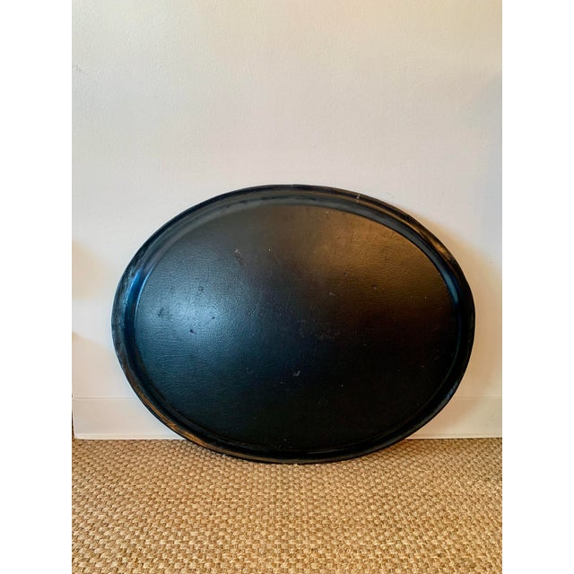 Victorian 19th Century Black Paper Mache VictorianTray With Mother of Pearl Inlay For Sale - Image 3 of 7