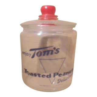 Vintage Tom's Toasted Peanuts Mid-Century Modern Display Jar.