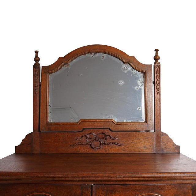 20th Century Chinese Raise Carved Dresser With Mirror For Sale - Image 4 of 9