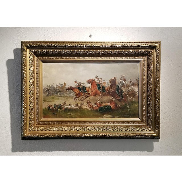 Silver 1897 Franco Prussian War Oil Painting on Board by G. Thorsbaek For Sale - Image 8 of 8