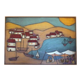 1940s Mexican Seaside 3d Village Painting For Sale