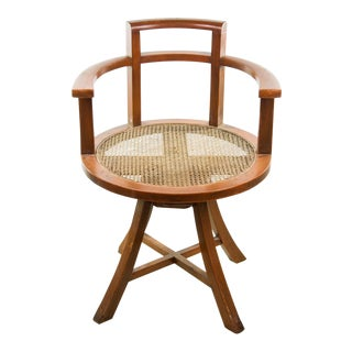 1930 Art Deco Mahogany & Cane Club Chair
