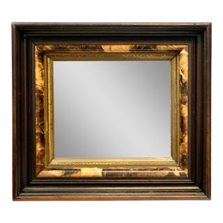 Antique Mirror With Ogee Triple Wood Frame & Hand Painted Flamed Mahogany and Gilt Detail For Sale