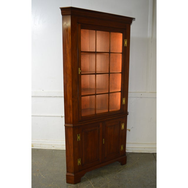 Brown Henkel Harris Chippendale Style Pair of Solid Cherry 12 Pane Corner Cabinets For Sale - Image 8 of 13