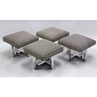 Set of Four Milo Baughman Style Polished Chrome Low Stools 1960s - For Sale