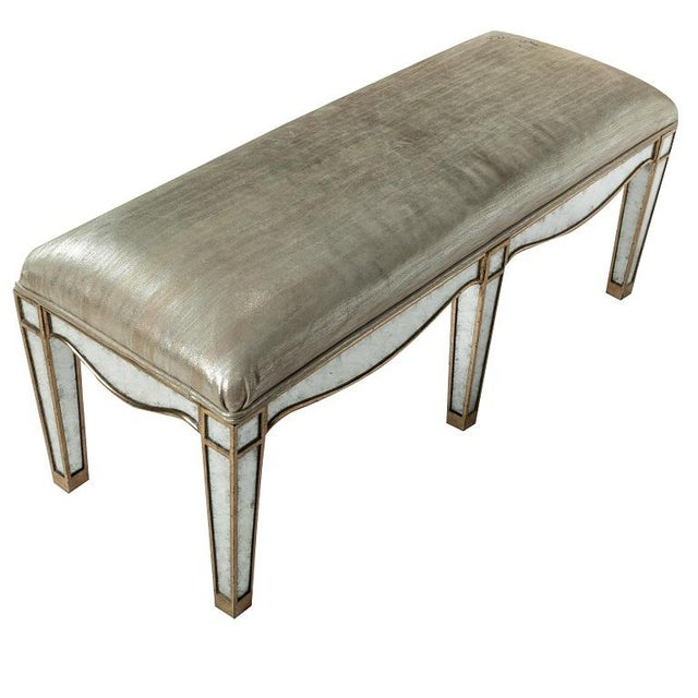 1990s Giltwood Eglomise Mirrored Bench For Sale - Image 5 of 5