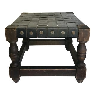 1960s Vintage Spanish Style Woven Square Footstool For Sale
