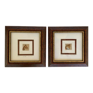 """""""Tiger and Giraffe"""" Framed Signed Etchings - a Pair For Sale"""