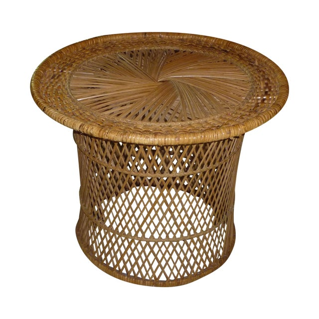 MCM Rattan Wicker Woven Round Side Table - Image 1 of 11