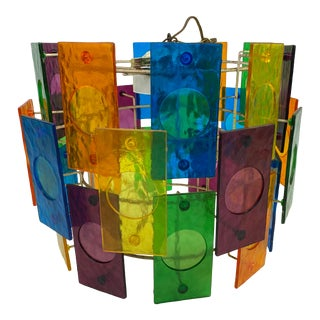 Mid-Century Modern Multi-Color Lucite Panel Ceiling Lamp For Sale