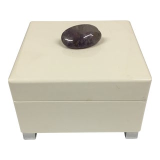 Amethyst Colored Stone Decorative Lacquered Box For Sale
