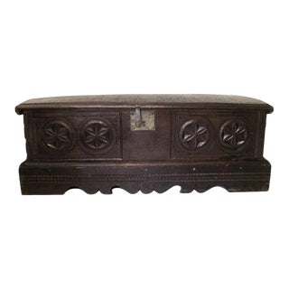 Spanish Oak Carved 17th Century Bench Chest Coffer Narrow For Sale