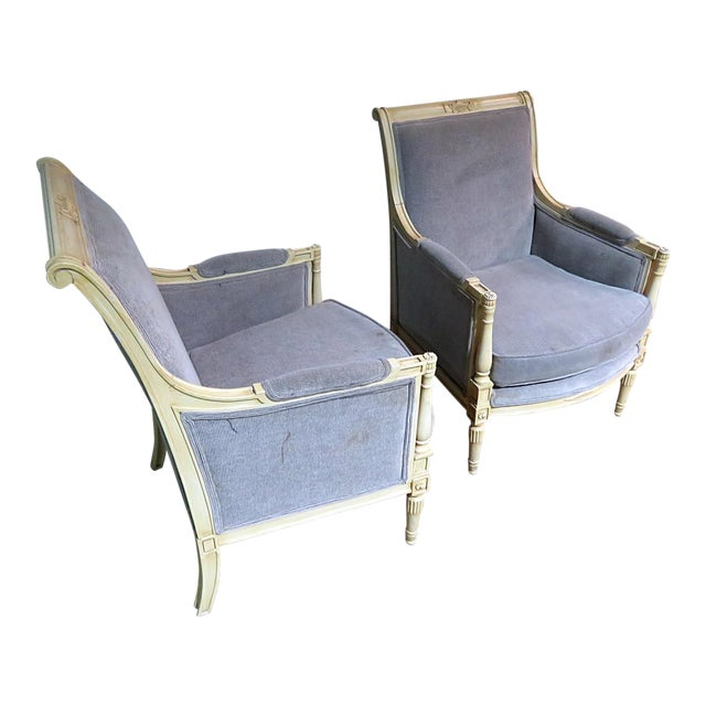 Directoire Style Upholstered Bergeres - a Pair For Sale