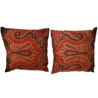 Vintage Scottish Wool and Silk Paisley Pillow For Sale