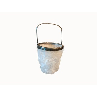Vintage French Glass Ice Bucket With Handle For Sale