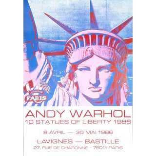 Andy Warhol '10 Statues of Liberty' 1986 Original Pop Art Poster For Sale