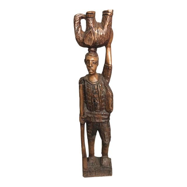 Vintage Carved Wood African Tribal Sculpture For Sale