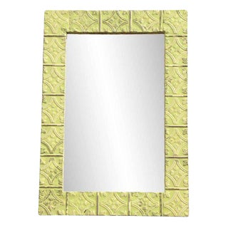 Yellow Tulip Pattern Ceiling Tin Frame Mirror For Sale