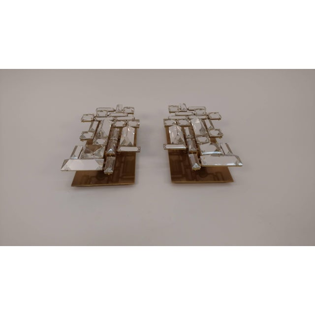 Metal Pair of Brass and Hand-Cut Crystal Sconces For Sale - Image 7 of 11