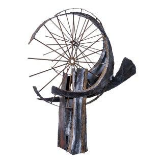 Brutalist Mixed Metal Sculpture For Sale