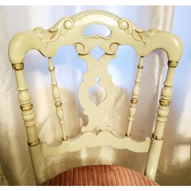 Vintage Petite Green Painted Side Chairs- a Pair For Sale - Image 4 of 6