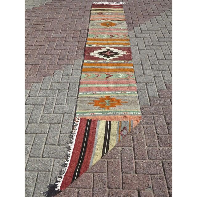 """Vintage Turkish Kilim Runner-2'x10'4"""" For Sale - Image 12 of 13"""