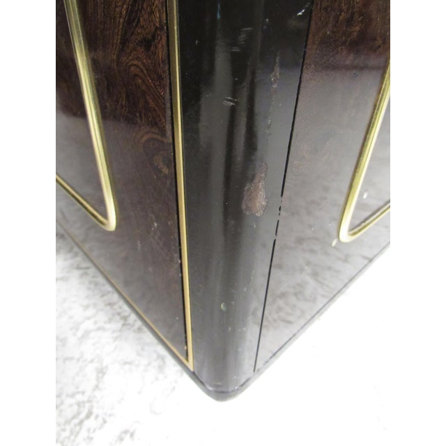 Brass Pair of Mid-Century Brass and Burl Nightstands by Bernhard Rohne For Sale - Image 7 of 13