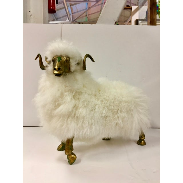 Contemporary 1990s Lalanne Style Solid Etched Bronze and Wool Ram Sculpture For Sale - Image 3 of 13