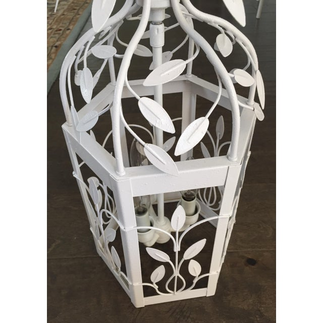 Vintage White Hexagon Light Fixture - Image 9 of 11